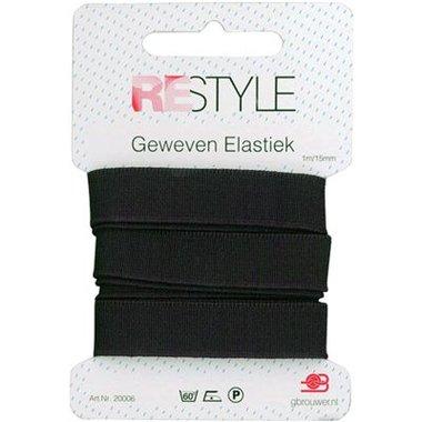 Restyle Geweven elastiek 15 mm Zwart