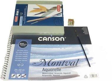 Aquarel Bruynzeel Design  12 stuks  Potloden en Bloc Pakket