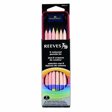 Reeves tin set 6 kleurpotloden