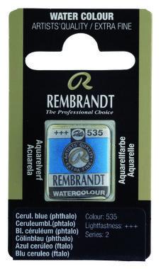 Rembrandt Aquarelverf napje nr. 535 Bleu Ceruleum Phtalo