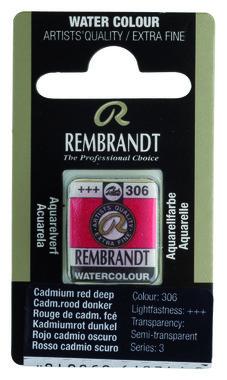 Rembrandt Aquarelverf napje nr. 306 CadmiumRoodDonker